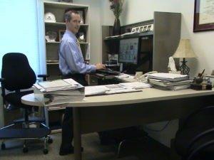 Mark Benden at his standing workstation